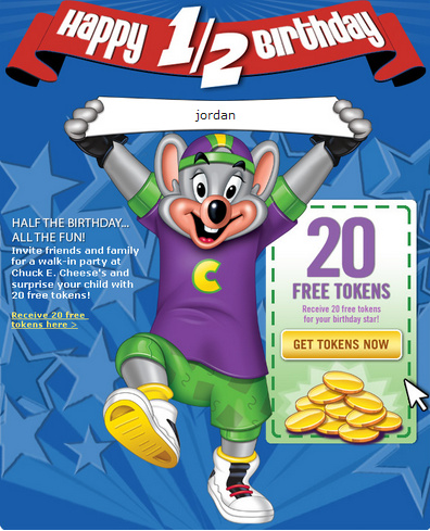 Get 20 Free Tokens for Chuck E Cheese COUPON QUARTERS